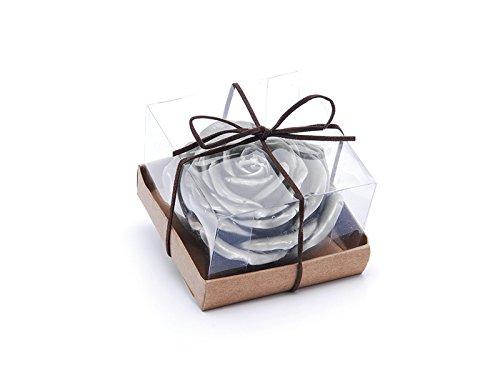 Bougie en forme de rose en boîte cadeau Diamètre 10 couleur vert