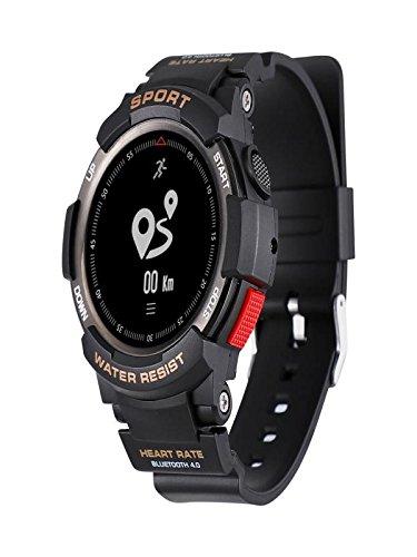 Ansenesna F6 Smartwatch Multisportuhr Wasserdicht Fitness Tracker Runtastic Bluetooth GPS Sportuhr für Android und IOS (Schwarz)
