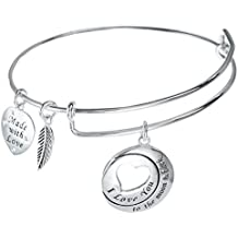 Brazalete de Plata de Ley, de Corazón y Hojas, cadena ajustable, con texto en inglés «I Love You To The Moon & Back»