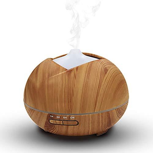 YBCD Humidificador de 400 ml/difusor de Aroma de Madera/atomizador ultrasónico/luz de Noche LED de 7 Colores/purificador de Aire silencioso/para Dormitorio, Oficina, Sala de Estar