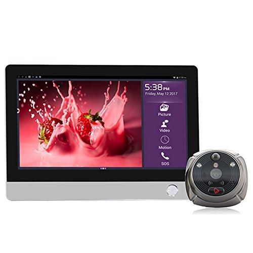 Miao @ lang Smart Visual Klingeln, kabellose Türklingel Bluetooth HD kapazitiver Touchscreen Zwei-Wege-Talk 130° Weitwinkel Infrarot-Nachtsicht integriertem 12000mAh großer Kapazität Akku silber Smart Talk Bluetooth