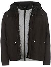Firetrap Mens Double Layer Parka Coat Popper Overlay Jacket Full Zip Hooded Top