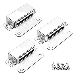 Magnetschnäpper Schrank Türmagnet ,onehous 20 kg Zugschrank Schrank Magnetische Türschloss mit 12 Schrauben, 304 Edelstahl Türmagnet für Wohnmöbel, Kleiderschrank, (3 Stück)