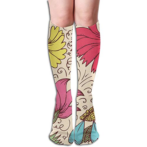 BBABYY Compression Socks Graduated Stockings For Men & Women,Old Fashioned Flowers Daisy Calendula Chamomiles Aster Nostalgic Feminine Art Pattern,Prevents Swelling,Travel,Everyday Use -