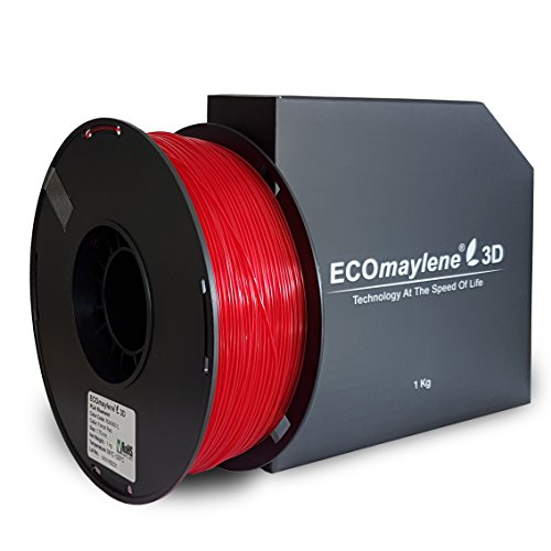ECOmaylene3D PLA Filament 1Kg Spool Translucent Red Ferrari 1.75mm Dimensional Accuracy +/- 0.05 mm | Consistent 3D Printing, Great Density & Layer Bonding, No Warping, No Cracking, Odorless, Easy Use