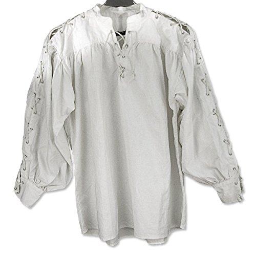 SAY Mittelalter Baumwollhemd mit Schnürung an Kragen und Ärmeln/Größe XL/Farbe: Weiss/Mittelalter Gewandung/Syndicate Armoury
