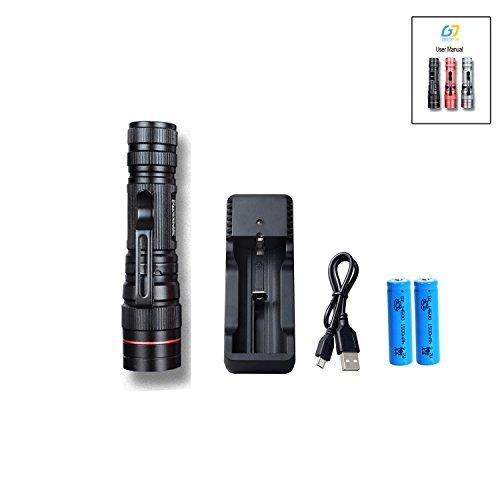 Gracetop Ultra Zoom LED torcia elettrica luminosa XPG-R2 600 Lumen resistente all'acqua Camping mini Pen luce della torcia 3 modalità Luce con 3.7V 14500 batteria (Nero)