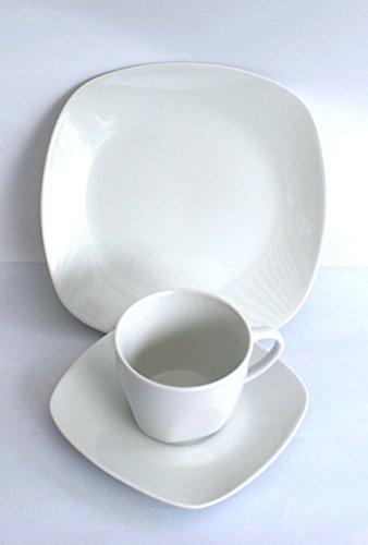 Kaffeeservice eckig Porzellan weiß 18tlg.