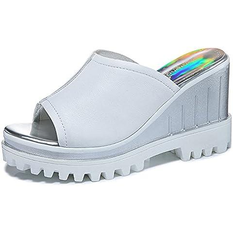 Primera capa moderna punta abierta de la cuña de los deslizadores elevación de la plataforma de fondo grueso deslizadores de las mujeres resbalón en sandalias de moda del arco iris Sole