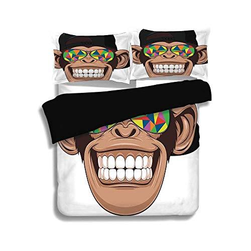 Schwarzer Bettbezug-Set, Cartoon-Dekor, lustiger Hipster-Affe mit bunter Sonnenbrille und Hut Rapper Hippie Ape Art Graphic, Braun-Schwarz-Weiß, dekoratives 3-teiliges Bettwäscheset von 2 Pillow Shams