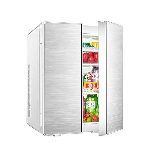 HUIQC Tragbarer Doppeltür-Kühlschrank mit Gefrierfach 25L Liter, Mini-Wechselstrom- oder Gleichstrom-Kühlboxen, Getränke, Wein-Camping, Reisen, Picknicks, kompakt (Farbe : Silber, größe : Style A)