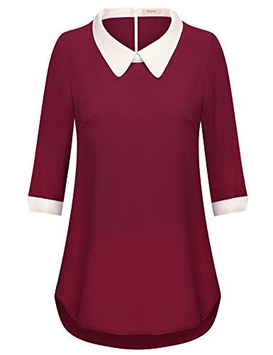 Bebonnie Casual Tops für Frauen,Mode-Design Peter Pan Kragen Wein,X-Large (Mädchen Peter-pan-kragen-bluse)