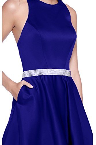 Victory Bridal Einfach Satin Silber Steine Guertel Abendkleider Partykleider Brautjungfernkleider Kurz A-linie Neu Royal Blau