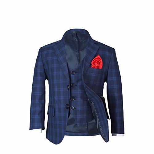 Jungen Kariert Marine Anzuge & Rot Krawatte Kinder Kariert Blau Marine Anzug (Marine-blau-karierte)