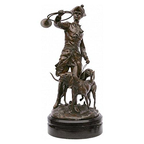Jäger mit Hunden Bronze Skulptur Figur Hunter with hounds Piqueur au Relais Moreau und Lecourtier Figur Marmor Sockel -