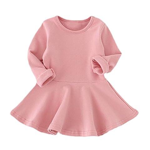 Babykleidung Hirolan Neugeborene Kleidung Mädchen Süßigkeiten Farbe Lange Hülse Solide Prinzessin Beiläufig Kleinkind Kinder Kleid (80CM, (Rock Band Baby Onesies)