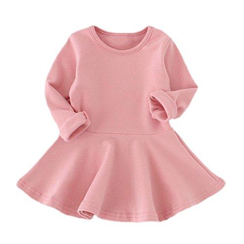 Babykleidung Hirolan Neugeborene Kleidung Mädchen Süßigkeiten Farbe Lange Hülse Solide Prinzessin Beiläufig Kleinkind Kinder Kleid (90cm, Rosa) (Rosa Kleid Gestreifte)