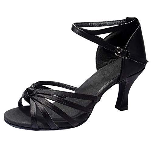 POIUDE Damen Schuhe Mädchen Latin Dance Med-Heels Satin Party Tango Salsa Dance Schuhe(Schwarz, 36)