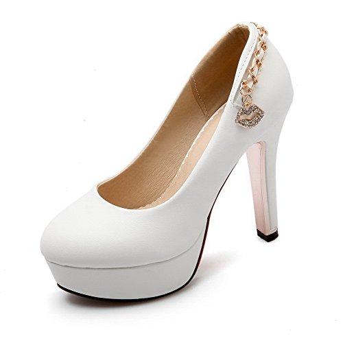 VogueZone009 Damen Pu Leder Rein Ziehen Auf Rund Zehe Hoher Absatz Pumps Schuhe Weiß