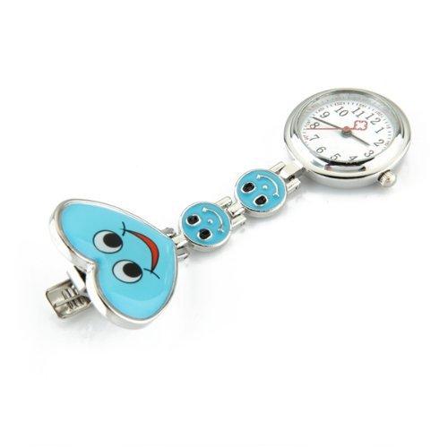 SODIAL(R) Reloj Tipo Enfermera Cuarzo Esfera Redondo Corazon Risa Color Azul