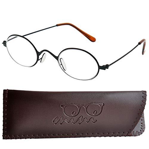 Lesebrille Professorenbrille mit runden ovalen Gläsern - mit GRATIS Etui | Vintage Retro Stil Edelstahl Rahmen (Schwarz) | Lesehilfe für Damen und Herren | +1.5 Dioptrien