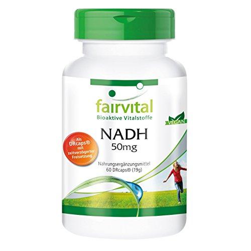 NADH 50mg, hochdosiert, mikroverkapselt, vegan, ohne Trennmittel, 60 zeitverzögerte DRcaps®, schnelle Energie Test