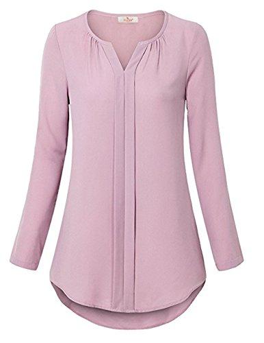 ELFIN Damen Chiffon Bluse V-Ausschnitt Freizeit Oberteil Loose Fit Casual Tunika Langarm Shirt Manschetten-Ärmel Tops Rosa