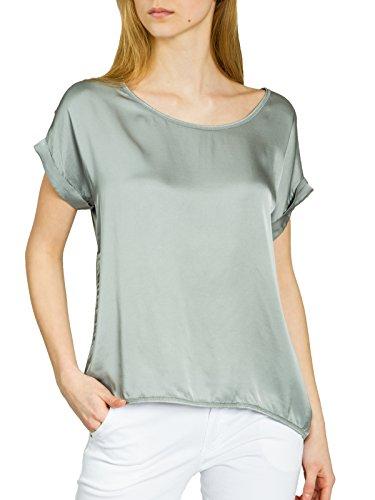 Caspar BLU017 leichte Elegante Damen Seidenglanz Kurzarm Sommer Shirtbluse, Farbe:hellgrau, Größe:XL/XXL -