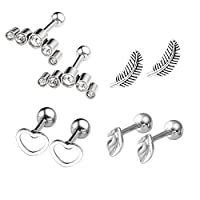 JOVIVI 8pc Stainless Steel Leaf/Crescent/Feather/Heart Barbell Cartilage Tragus Helix Stud Earrings 16 Gauge 1/4