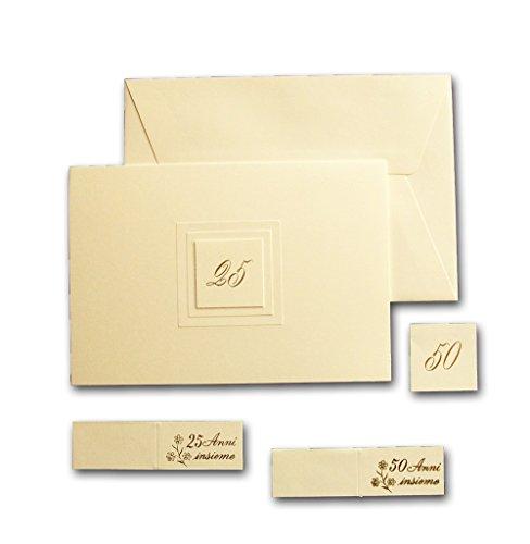 Biglietti bomboniera di invito nozze d'argento o nozze d'oro riquadro