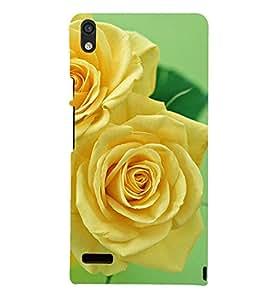 Printvisa Yellow Blooming Rose Depecting Nature 3D Hard Polycarbonate Designer Back Case Cover For Huawei Ascend P6 :: Huawei P6 :: Huawei Ascend P6 Dual