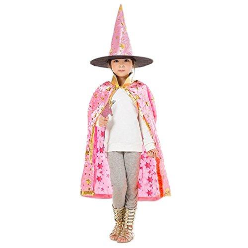 TOOGOO(R) Halloween Kostueme Hexe Zauberer Umhang mit Hut fuer Kinder Jungen Maedchen rosa (Hut Hexe Sterne)