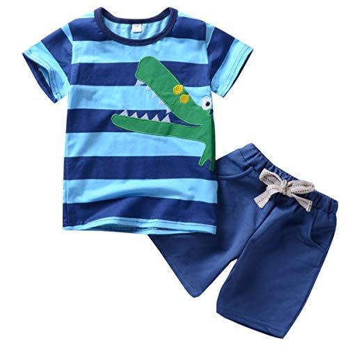 Puseky 2 stücke Infant Baby Boy Kleidung Krokodil Streifen Print T-shirt + Hosen Outfits Set (Color : Blau, Size : 1Y-2Y) -