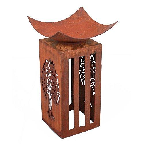 Preisvergleich Produktbild Unbekannt Feuer-Schale Säule Rost-Optik Feuerturm Dekoration 76. cm Vintage