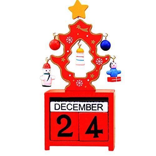 Monllack Einzigartige Weihnachts-Adventskalender-Dekorationen für Haus aus Holz Kalender Ornamente Kunsthandwerk Dekoration Kunst Geschenke (Weihnachten Und Kunsthandwerk Kunst Für)