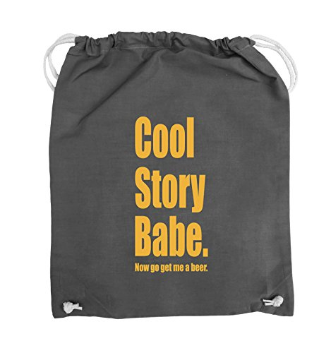 Comedy Bags - Cool Story Babe now get me a beer - Turnbeutel - 37x46cm - Farbe: Schwarz / Silber Dunkelgrau / Gelb