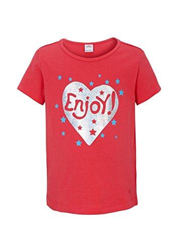 s.Oliver Mädchen T-Shirt 53.504.32.2317, mit Print, Gr. 128 (Herstellergröße: 128/134), Rot (red 4513)