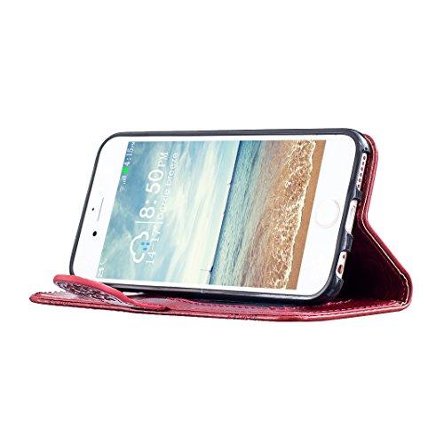 Coque iPhone 6S Plus Etui Cuir, Housse iPhone 6 Plus Folio Case, Moon mood® 3D Cas en PU Cuir pour Apple iPhone 6 Plus 5.5 pouces Telephone Portable Coque Housse Fermeture Magnétique Fente pour Carte  2-Rouge