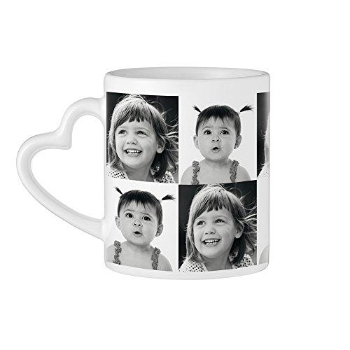 Tassenwerk – Kaffeebecher mit Herzhenkel und Fotodruck – Personalisiert mit [Fotos] – Individuelle Teetasse mit Foto-Collage – Bedruckte Tasse – Geschenkidee für Männer und Frauen zum Geburtstag