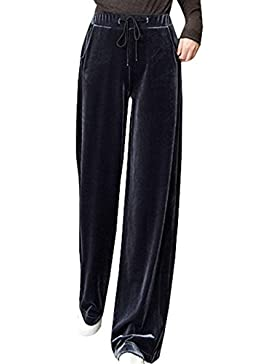 Mujer Pantalones Deporte s Cintura Alta con Cordón Terciopelo Pierna Ancha Pantalones Lindo Chic Anchas Ocasional...
