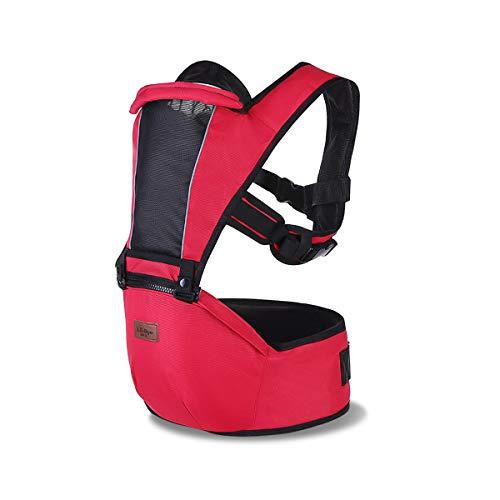 SONARIN 2018 Premium Hipseat Babytrage,vorne,horizontal,Multifunktional, Ergonomisch,6 Tragende Positionen,Angepasst an Ihr Kind wachsende,Einfach zu tragen und Einfach Mama,Ideal Geschenk(Rot)