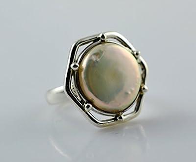 Bague en argent avec perles d'eau douce, bague en perles, bague en argent sterling 925, bijoux en perles, bague en perles pour femmes, bague faite main taille 44 à 64 FR