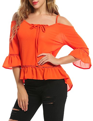 ACEVOG Damen Chiffon Bluse Schulterfrei Shirt Loose Fit Tops Oberteile  Orange
