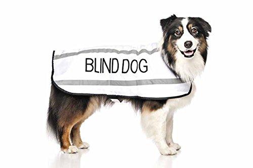 blinder Hund weiße Farbe Coded S M L reflektierende wasserdichte Fleece gefüttert warme Hundemäntel verhindert Unfälle durch andere im Voraus warnen ( Medium Brust 46-76cm Rückenlänge 43cm) (Brust-kragen Fleece)