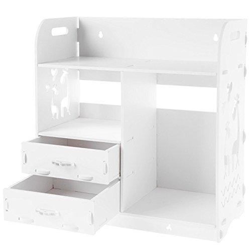 Fach-speicher Unit (yuan yuan Fach-Aufbewahrungsbehälter, Badezimmer-kosmetischer Speicher-Zahnstangen-, Büro-Schreibtisch-Mehrschichtspeicher-Zahnweiß,Weiß,Einheitsgröße)