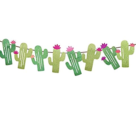 Tinksky Thème d'été Décorations de mariage Décorations à double face Cactus Banner Pennant Festival de fêtes d'anniversaire à la fête tropicale Festival de fête d'anniversaire de Luau Hawaii Décoration