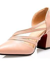 GGX/ Zapatos de mujer-Tacón Robusto-Tacones-Tacones-Casual-PU-Negro / Blanco / Almendra , almond-us7.5 / eu38 / uk5.5 / cn38 , almond-us7.5 / eu38 / uk5.5 / cn38