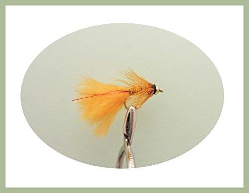 Lot de 6mini goldhead Orange Rouge Flash Taille 12, truite mouches Demoiselles