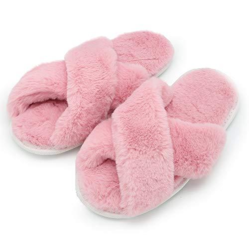 Ciabatte con pelliccia da donna in memory foam babucce morbide pantofole invernali rosso grigio bianco panna (39/41 eu, rosa)