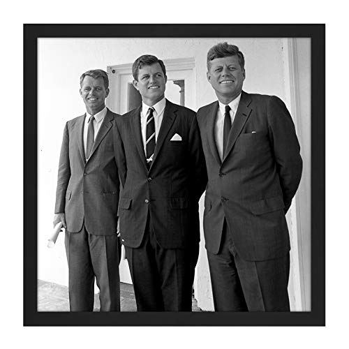 Portrait President JFK Brothers John Robert Ted Kennedy Photo Square Wooden Framed Wall Art Print Picture 16X16 Inch Porträt Präsident Fotografieren Holz Wand Bild